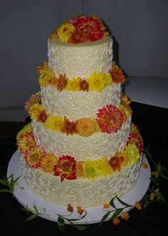 Wedding Cake with Bright Florals