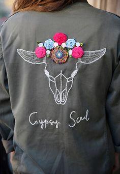 Gypsy+Soul+-+Handsewn+BOHO+BULL+vintage+military+jacket