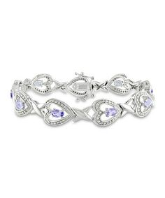 Another great find on #zulily! Purple Tanzanite & Diamond Heart Bracelet #zulilyfinds
