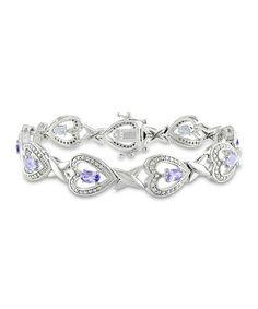 Another great find on #zulily! Purple Tanzanite & Diamond Heart Bracelet #zulilyfinds