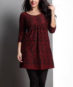 Look what I found on  zulily! Red Floral Empire-Waist Tunic - Plus 150babaf379