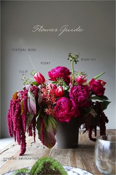 colours and different kinds of flowers. love