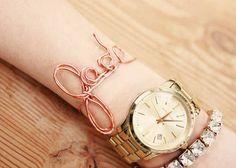 DIY Rose gold name wire bracelet