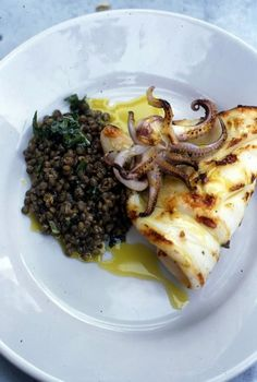 Nigel Slater - Recipes - Grilled Squid with Lentil and Mint Salad