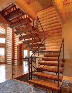 contemporary details in a traditional log home -- wow!