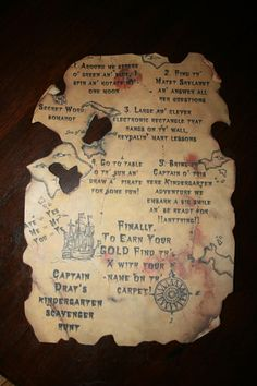 Do It Yourself Pirate Treasure Map with DIY Instructions! Great for birthday party invitations and or scavenger hunt favors! Includes downloadable template at www.neverforgottendesigns.com !