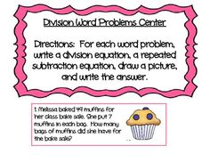 Division word problems (FREE) center