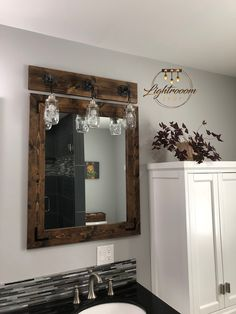 Mirror and Light Bathroom Set Bathroom Vanity Mason Jar Light Fixture Mirror Wall Pendant Light Rustic Industrial Farmhouse Pipe Set Wood Framed Mirror, Diy Mirror, Mirror Set, Mirror Vanity, Mirror Ideas, Vanity Ideas, Mirror Inspiration, Mirror Collage, Wood Vanity