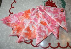 Vintage Vera Floral Pink / Orange Napkins  7 Piece by FelicesFinds