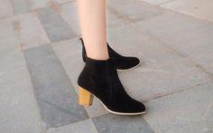 short cylinder Martin Side zipper ankle high heels boots shoes
