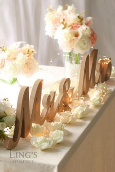Mr and Mrs Signs for Wedding Sweetheart Table Decor - Mr and Mrs Letters - Mr and Mrs Wooden Sign -Mr and Mrs Wedding Gift TLW by BlissByLingsMoment on Etsy https://www.etsy.com/listing/286293985/mr-and-mrs-signs-for-wedding-sweetheart