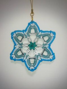 Pop tab snowflake, Christmas ornament, created and made by Sunny myself.