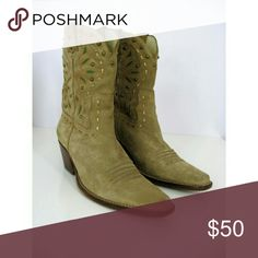 Studded Leather Cowboy Short Western Boots Tan Suede Western Inlay Design of Green Leather Accented by Gold Studs and Woven Gold Metallic Leather, Rounded Narrow Toe, Stacked Cuban Heel & Stitched Leather Sole - Leather Lined - Film Set Wardrobe  Non Slip Pads to Soles - Black Marker to Sole - Minor Scuffing to Back of Right Heel ( can be polished out ) - otherwise in Excellent Condition almost no Wear to Soles or Heel - Upper in Excellent Condition Size - 6.5 - Run Small  Toe to Heel…