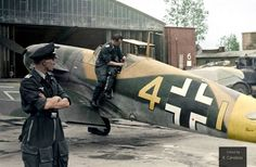 Bf 109 F-4 'Yellow 4' of 9./JG 3 'Udet' flown by fighter ace Ofw. Eberhard von Boremski photographed in early May 1942, possibly still during the unit's refit in Wiesbaden-Erbenheim, Germany, shortly before it was transferred back to the Eastern Front. (Colorised by Rui Manuel Candeias) https://www.facebook.com/pages/In-Color-Veritas/852145788156532?fref=ts