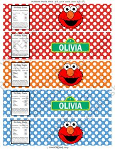 ELMO Printable WATER BOTTLE Label  Diy by BOMBOMPartyShop on Etsy