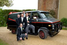 If you've chosen a TV and film wedding venue, give a nod to it by choosing a wedding car that has a famous story too. The A Team's van, available from Star Car Hire, is a great choice for the groomsmen. Wedding Cars, Wedding Venues, Wedding Transportation, The A Team, Groomsmen, Monster Trucks, Wedding Planning, Vans, Things To Come