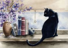 Edition Cat Kunstdruck aus einer original-Aquarell.