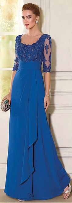 Wonderful Tulle & Chiffon Scoop Neckline A-line Mother Of The Bride Dresses With Beaded Lace Appliques