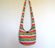 Hobo Bag Striped Sling Bag Zebra Stripes Hot Pink by 2LeftHandz, $32.00