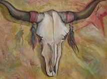 Steer Skull With Horns Stretched Canvas Guache with Texture Skull With Horns, Guache, Visual Display, Canadian Artists, Stretched Canvas, Cheryl, Watercolor, Texture, Artwork