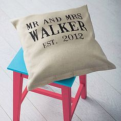 Personalised 'Mr And Mrs' Wedding Linen Cushion - I like the idea of making something similar for a friends wedding..