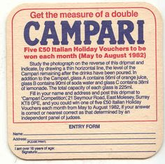 Campari 1982 Italy Holiday Competition beermat from 1970s-1980s. Coaster.
