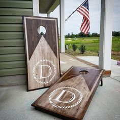 """Thanks for checking out our Etsy shop! The WoodMiller is Veteran-owned and operated, providing Made-to-order, Handcrafted Cornhole Boards and countless woodwork creations! This featured set is a PREMIUM build made to corn hole regulations size (24""""x48""""). Each set has collapsible"""
