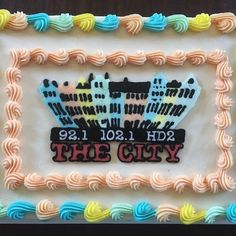 "A cake made by my lovely bride Lisa to celebrate the debut of #CHS new favorite radio station 92.1 and 102.1 ""The City""!"