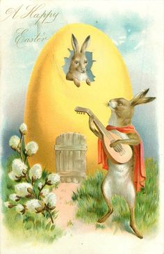 A HAPPY EASTER rabbit troubadour plays mandolin to rabbit watching from window in large yellow egg, pussy-willow front left