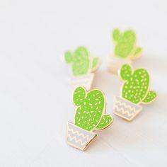 Cactus pin enamel pin lapel pin succulent by finestimaginary