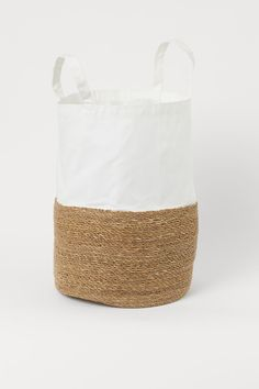 Cotton twill laundry bag - White/Beige - Home All | H&M GB 1 Wall Basket Storage, Storage Baskets With Lids, Baskets On Wall, Wicker Baskets, Beige Art, White Beige, Light Beige, Dark Grey, Canvas Laundry Bag
