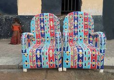 Yoruba royal beaded chairs from Africa Wingback Chair, Armchair, African Home Decor, Unique Lighting, Furniture Decor, Art Decor, Safari, Area Rugs, Chairs