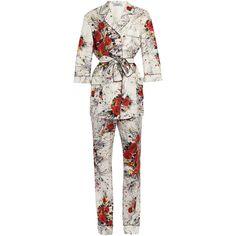 Prada Floral-print silk satin-twill pyjama set (3 312 320 LBP) ❤ liked on Polyvore featuring intimates, sleepwear, pajamas, white print, silk satin pajamas, floral pyjamas, white pajamas, prada and white pyjamas