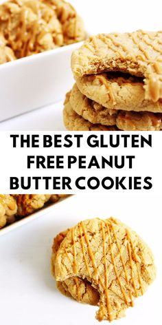 The Best Gluten Free Peanut Butter Cookies - Gluten Free Peanut Butter Cookies, Gluten Free Cookie Recipes, Wheat Free Recipes, Gluten Free Sweets, Gluten Free Cooking, Real Food Recipes, Wheat Free Baking, Foods With Gluten, Low Calorie Recipes