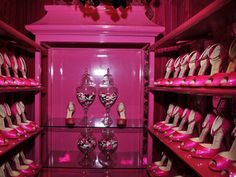 barbie's closet....an all pink closet (not the shoes, would only need about 10pairs of those) with pink shelves, etc-why didn't i think of this?!