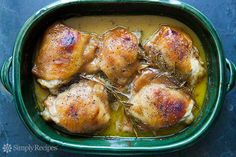 Honey Mustard Chicken ~ Chicken thighs baked in a simple honey mustard sauce until golden brown, with sprigs of rosemary. ~ SimplyRecipes.com