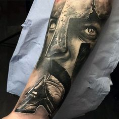 Spartan Warrior Helmet Guys Sweet 3d Realistic Forearm Sleeve Tattoo Design Ideas