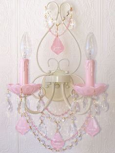 Exquisite Double Light Wall Sconce...Milky Opal Pink Crystals-