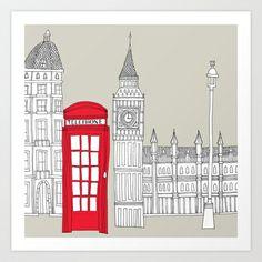 London Red Telephone Box Art Print by BLUEBUTTON STUDIO - $17.68