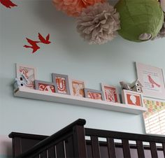 Love the letter art and ceiling display