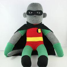 'Robin' the Sock Monkey (Superhero) - **Made to Order** Batman's already flown
