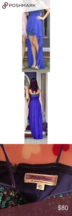 """High low indigo sequin prom/homecoming dress Only worn once and in great condition! It's a size 3/4 by the brand Hailey Logan by Adrianna Papell. It has been altered to be a few inches shorter. I wore 3"""" heels and I'm 5'4 and 115 lbs. Hailey Logan Dresses Prom"""
