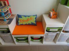 super adorable blue, green, and orange dinosaur room!