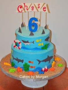 Shark Cake for Dom? Add a few dismembered body parts, some blood in the water (Thin pools of set red jello that have been whipped to make it look all bubbly and shark attack-like) to up the gore factor.