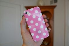 pink polka dot iphone case. ♡