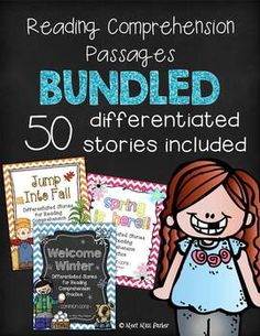 Are you looking for some engaging new reads for your kiddos? Check out this BUNDLED set for reading passages for the entire year!!! 50 differentiated stories (38 fiction, 12 nonfiction, 2 levels for each, 100 STORIES IN ALL!)