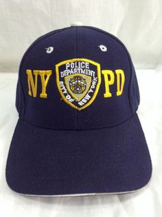 4aa473ec339 NYPD Strapback Hat New York City Police Embroidered Patch Logo Navy Blue Cap