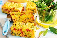 This easy, savoury slice is the perfect way to incorporate more vegetables into your meal. The tasty egg, bacon and cheese will keep the kids coming back for more. Vegetable Slice, Vegetable Recipes, Savoury Slice, Coles Recipe, Cooking Recipes, Healthy Recipes, Baby Recipes, Thm Recipes, Entree Recipes