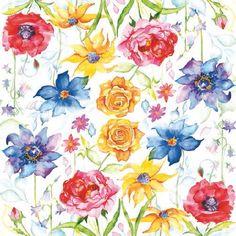 0434 Servilleta decorada flores