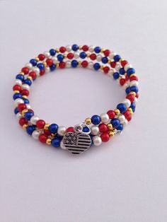 Red White & Blue Pearl Beaded Memory Wire Bracelet, Triple Wrap Around Braclet, Heart Charm Wrapped Bracelet USA by EverydayWomenJewelry on Etsy https://www.etsy.com/listing/267715748/red-white-blue-pearl-beaded-memory-wire